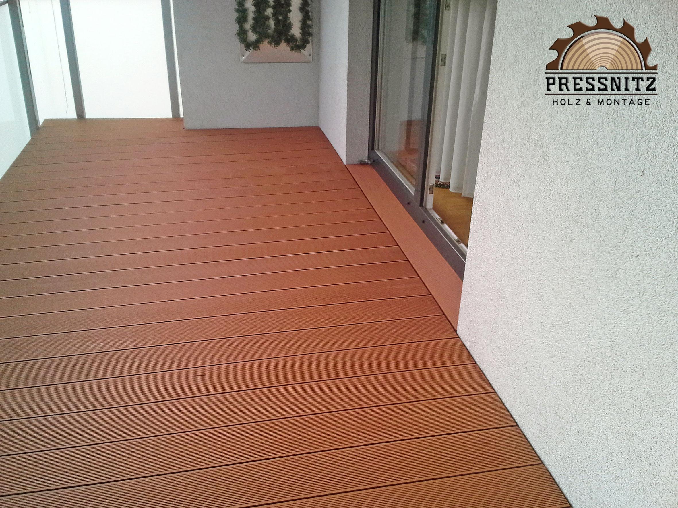 Ansicht Deckfläche mit BPC Hohlkammerdiele von Osmo, Farbe Braun